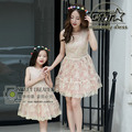 High Quality Summer Brand Mother Daughter Matching Dresses Lace Golden Silk Princess Dress Family Matching Outfits Clothes