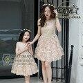 La alta Calidad Del Verano Marca Vestidos A Juego Vestido de Princesa de Encaje de Seda de Oro de La Familia de Madre E Hija Trajes A Juego Ropa