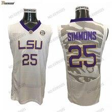 DUEWEER Mens Vintage Ben Simmons College Basketball Jersey Cheap Road White   25 Ben Simmons University ada4da384