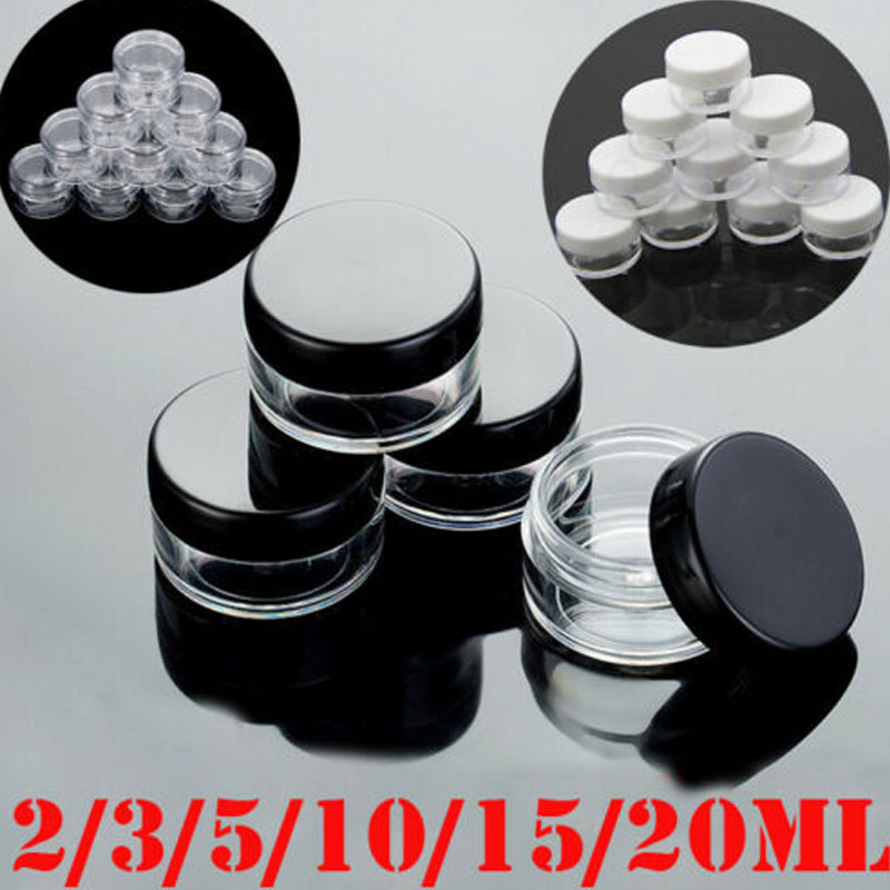 10pcs 2g/3g/5g/10g/15g/20g Empty Plastic Clear Cosmetic Jars Makeup Container Lotion Bottle Vials Face Cream Sample Pots Gel Box
