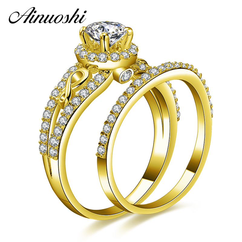 AINUOSHI 10k Solid Yellow Gold Halo Ring Set 0.5ct Round Cut Weaving Ring Set Luxurious Engagement Wedding Jewelry For Female
