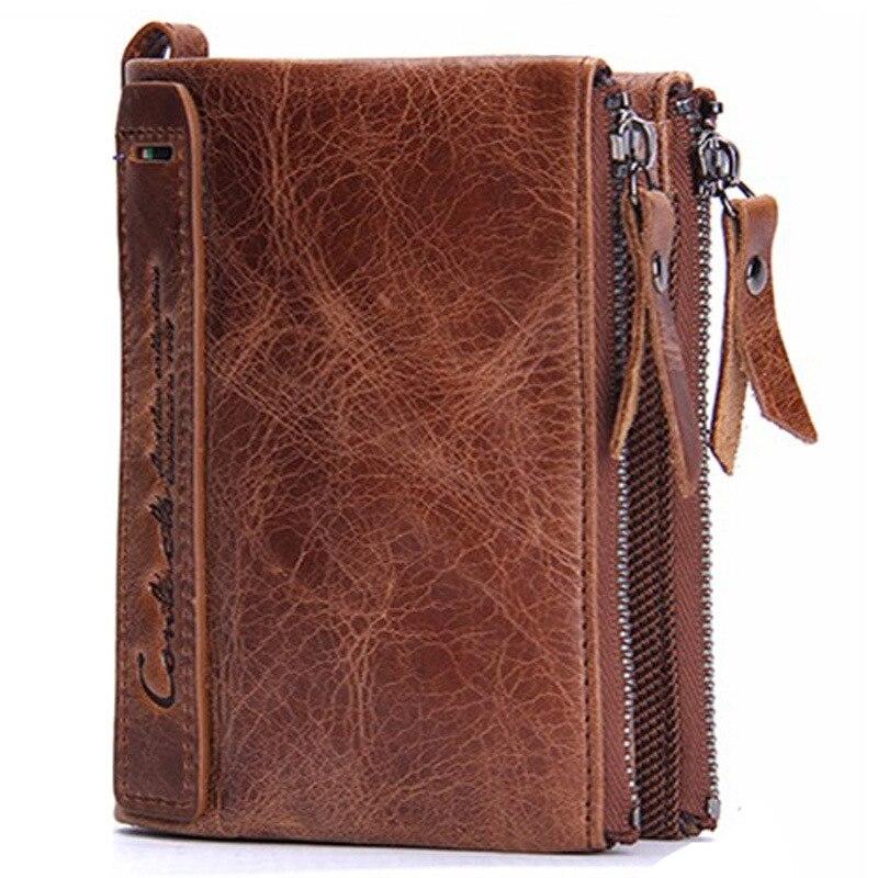 100 Genuine Crazy Horse Cowhide Leather Men font b Wallet b font Short Card Holder Luxury
