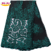 French Bead Lace Faabric Green 2017 Latest African Mesh Tulle Lace Fabric 5Y Nigerian Guipure Lace