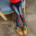 Fashion Teenage Girls Jeans With Red Lips Embroidery Spring Autumn Pants For Girls Kids Girls Clothing* Children Costumes N70-1