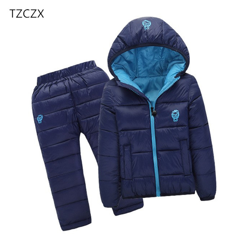 TZCZX-2520 Winter Children Boys Girls Sets Unisex Solid Hooded Jacket + Trousers Suit Clothing For 18 Months to 7 Years kocotree suit for 3 12 years old children unisex cap scarf gloves winter warm three piece sets