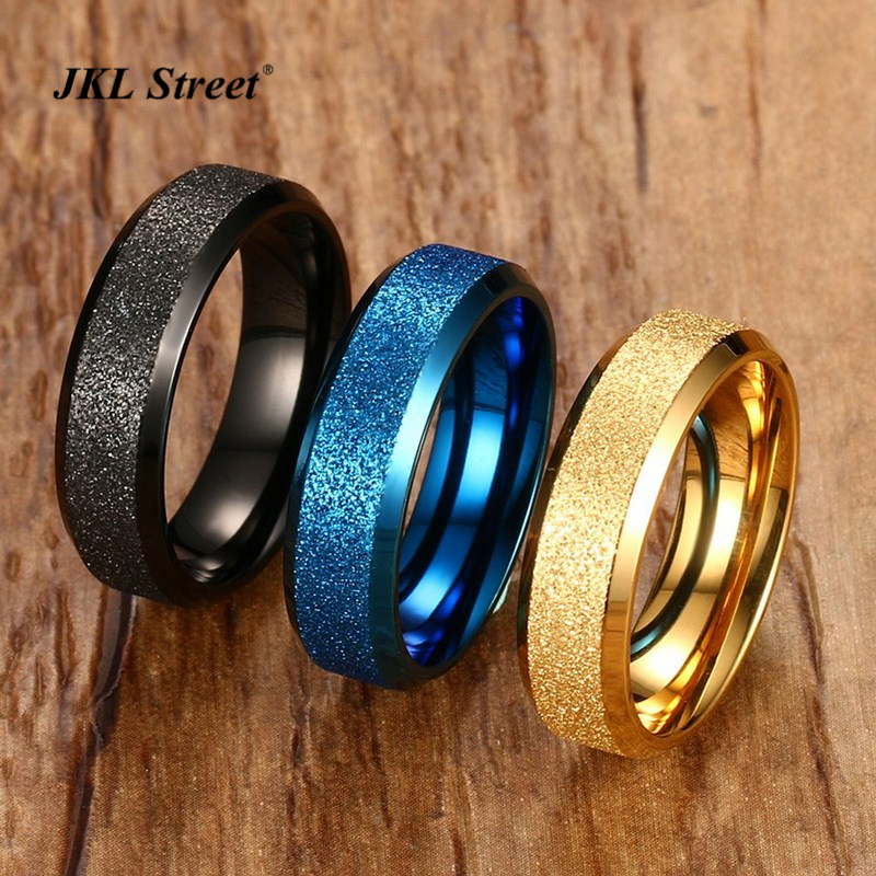 Hot Sale Bling Bling Dull Polish Men Rings 4 Color 6MM Stainless Steel Quality Multicolor Plated Womens Ring SF-278
