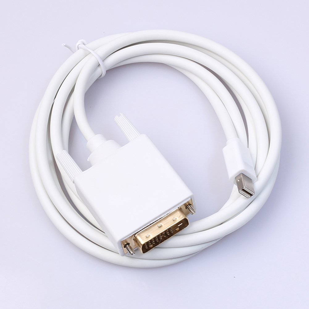 1.8m Mini DisplayPort DP to DVI Cable White Mini DP DVI Audio Video Adapter Converter Cables Cord Wire Line for Apple MacBook vention mini dp к vga hdmi dvi конвертер apple интерфейс mini displayport