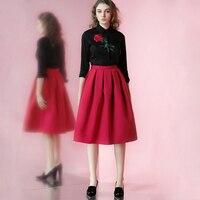 LIVRAISON GRATUITE 2016 Printemps New Vintage Rose Broderie Chemise Noire et Taille Haute Rouge Tutu Jupe Deux Pièces Ensembles Femmes vêtements