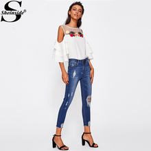Sheinside Blue Bleach Wash Distressed Rock Denim Jeans Women Casual High Waist Button Fly Ripped Pants 2018 Skinny Jeans