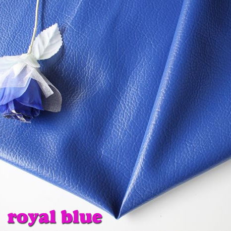 royal blue big lychee pattern pu synthetic leather faux leather
