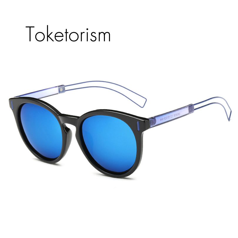 Toketorism font b Fashion b font personality color round frame Ultra light hollow temple sunglasses font