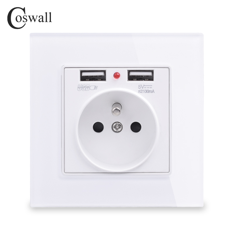 COSWALL 2019 New Wall Power Socket Grounded 16A French Standard Electrical Outlet With 2100mA Dual USB Charger Port For Mobile