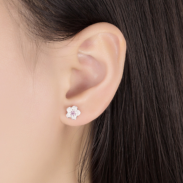 100% 925 sterling silver fashion Cherry blossoms flower crystal ladies`cute stud earrings women jewelry birthday gift cheap 2