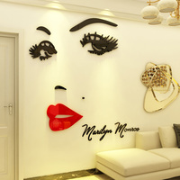 New Monroe Design Acrylic Stickers Sexy Goddess Wall Sticker for Living Room Girl's Room Beauty Shop Decoration