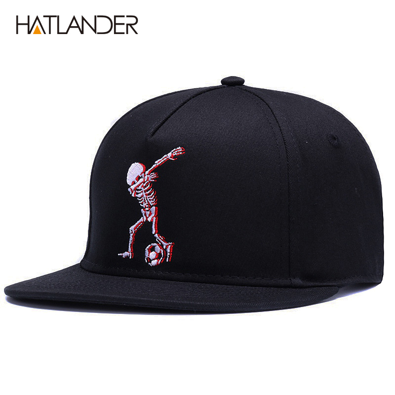 HATLANDER 5panels cotton baseball caps brand embroidery skull hip hop cap cool adjustable sports hats funny black snapback cap in Men 39 s Baseball Caps from Apparel Accessories