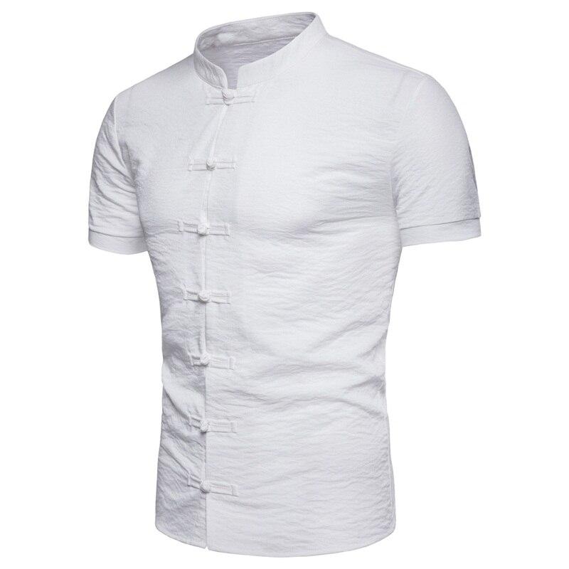 7049917f28b6 EC2018 Summer New Casual Shirts Men Breathable Cotton Linen Fashion Three  Quarter Slim Fit Brand Clothing T049