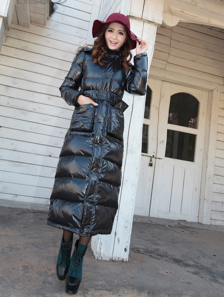Long Long thick down jacket Women Slim plus size camouflage knee ...