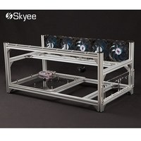 S SKYEE USB Switch Aluminum 6 GPU Open Air Mining Rig Frame Case 5 Fans For