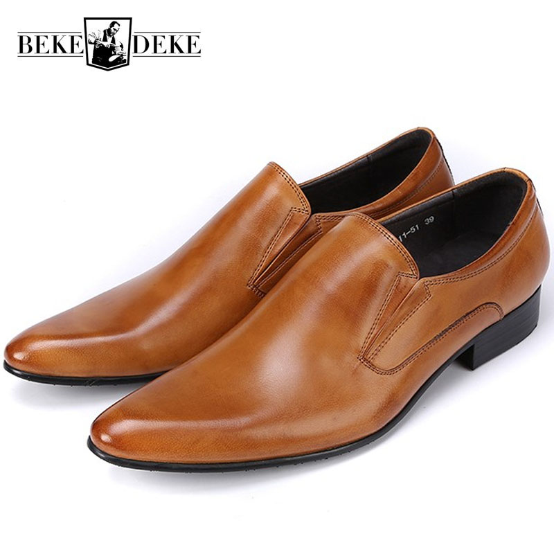 New Classic Genuine Leather Mens Dress Shoes Business Formal Wedding Office Man Brown Black Footwear Pointed Toe Slip On LoafersNew Classic Genuine Leather Mens Dress Shoes Business Formal Wedding Office Man Brown Black Footwear Pointed Toe Slip On Loafers