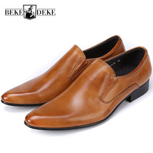 New Classic Genuine Leather Mens Dress Shoes Business Formal Wedding Office Man Brown Black Footwear Pointed Toe Slip On Loafers цена