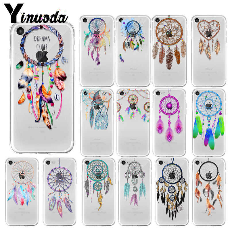 Yinuoda Dream Catcher Feather Newly Arrived Transparent Cell Phone Case for Apple iPhone 8 7 6 6S Plus X XS MAX 5 5S SE XR Cover