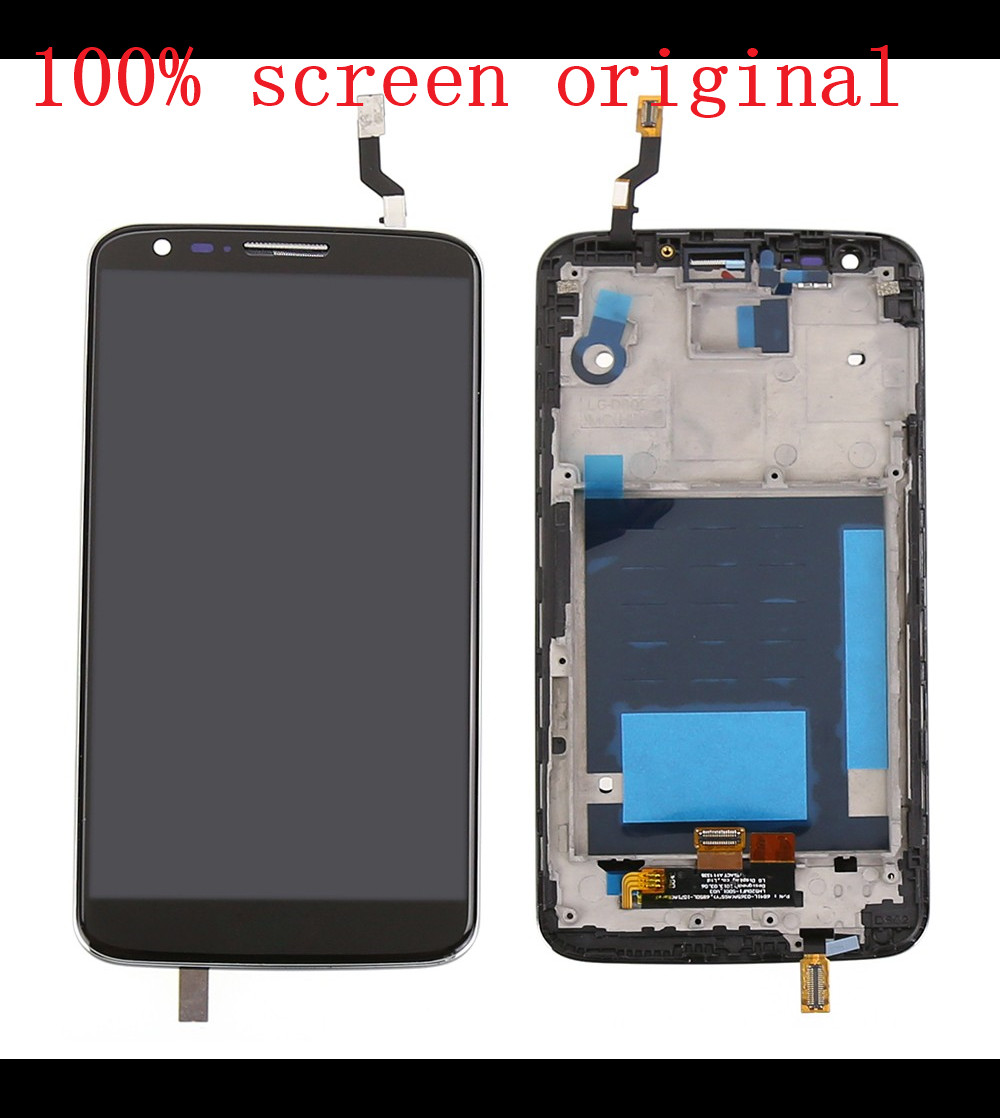 ФОТО white black For LG Optimus G2 D802 LCD display touch screen with Digitizer full Assembly with frame replacement