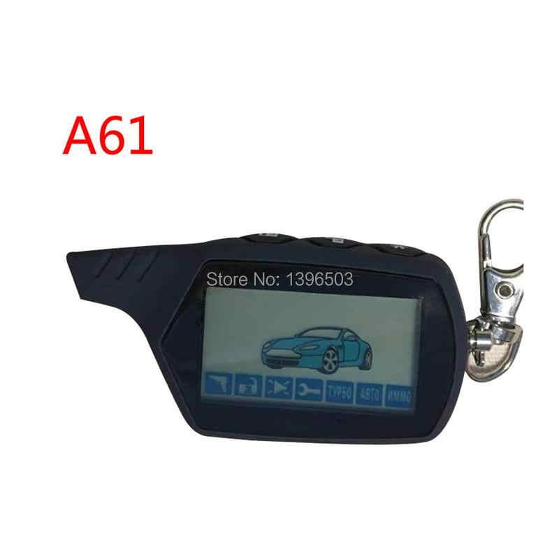 2-way A61 LCD uzaktan kumanda anahtarlık anahtarlık StarLine A61 iki yönlü araç alarm sistemi rusça 2 yönlü alarm Fob oto başlangıç