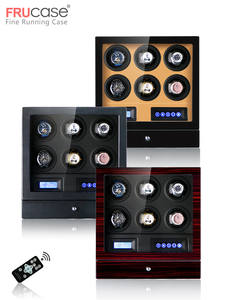 FRUCASE Watch-Winder 6watches-Control-Stop Automatic Luxury for Led-Light The-Cover When