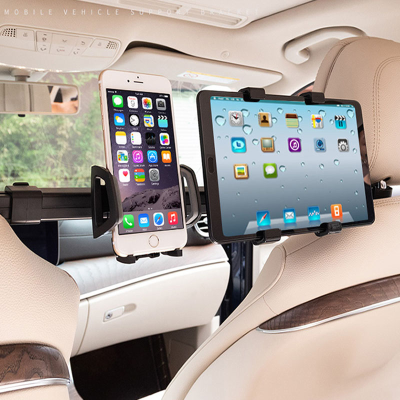 Car Tablet PC Phone Holder Universal 2 In 1 Rack 360 Degree Back Seat Headrest Mount Stand Bracket For IPad Tablet Phone Holder