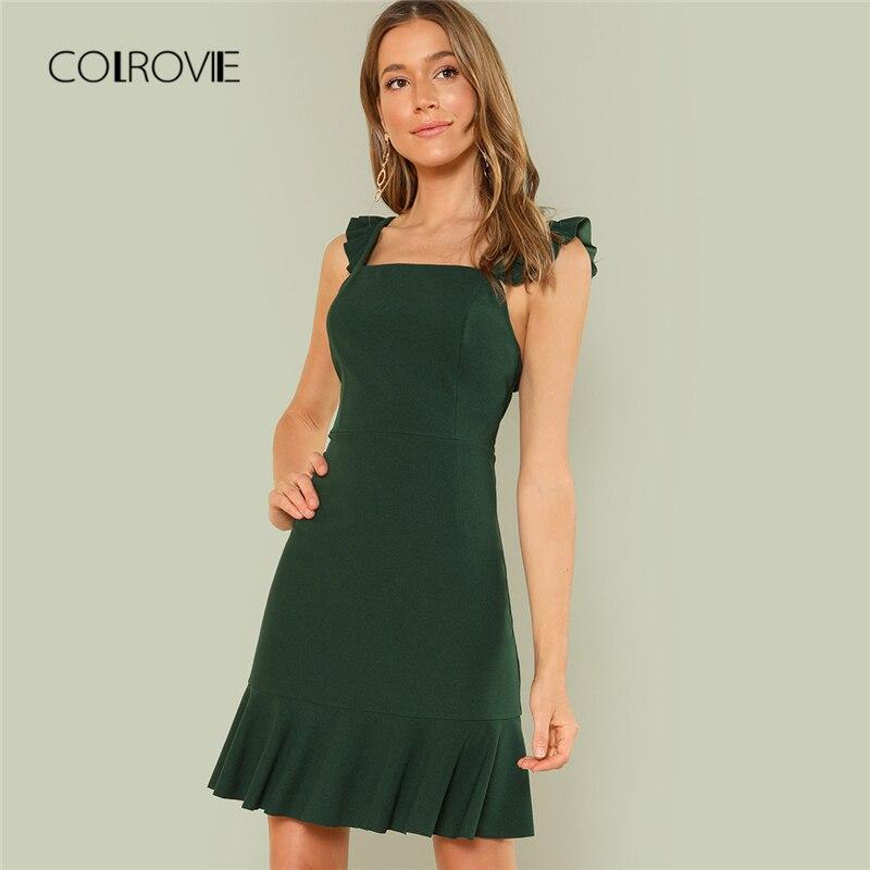 COLROVIE High Waist Ruffle Trim Backless Dress 2018 New Green Straps Shift Casual Summer Dress Zipper Flounce Short Women Dress