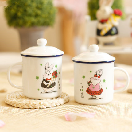 2 pcs lot small wedding <font><b>couple</b></font> mug with lid Valentine's Day gifts Chinese Happiness tea <font><b>cup</b></font> creative <font><b>rabbit</b></font> lover <font><b>ceramic</b></font> mug