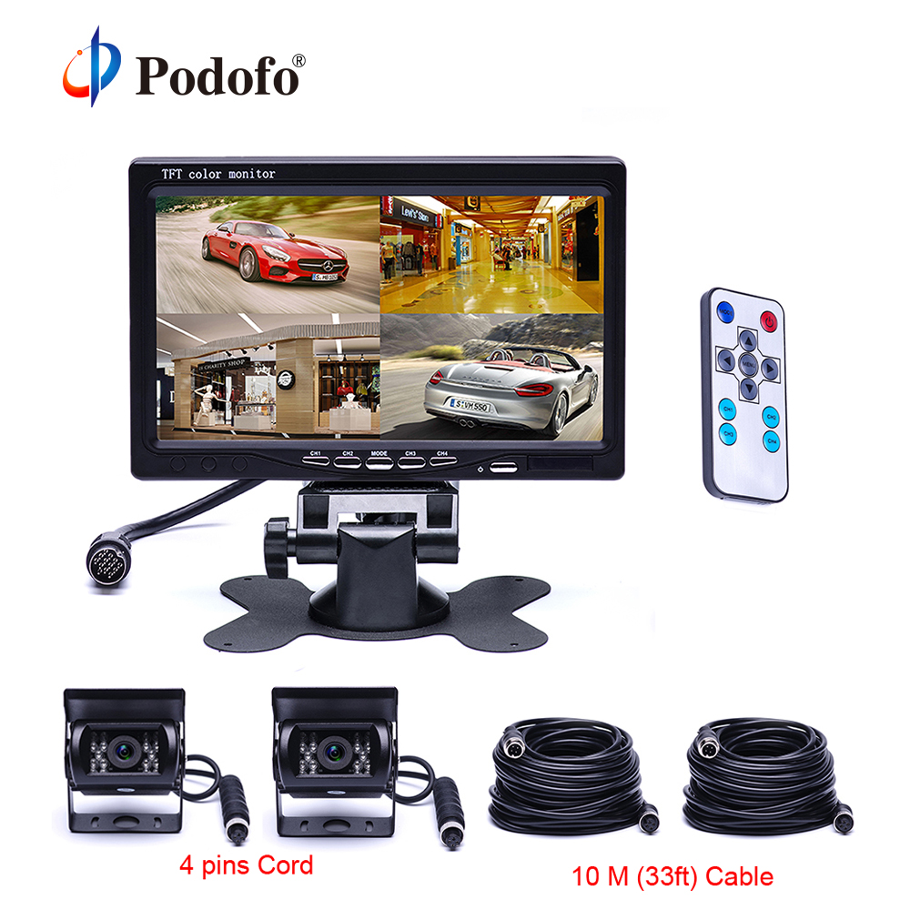 Podofo 7 Split Screen Quad Monitor for Auto 18 IR Night Vision Backup Camera Aviation 4 Pins Car Rear View Camera for RV Truck