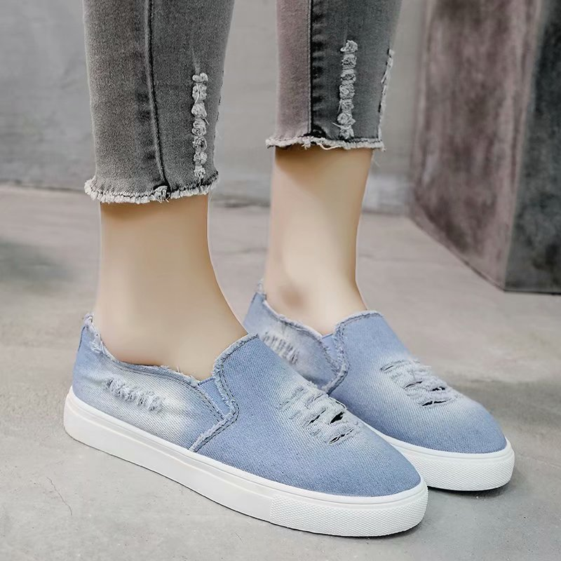 HEFLASHOR New Women Vulcanize Casual Shoes Women Denim Canvas Sneakers Shoes Ladies Slip On Breathable Shallow Loafers Plus SizeHEFLASHOR New Women Vulcanize Casual Shoes Women Denim Canvas Sneakers Shoes Ladies Slip On Breathable Shallow Loafers Plus Size
