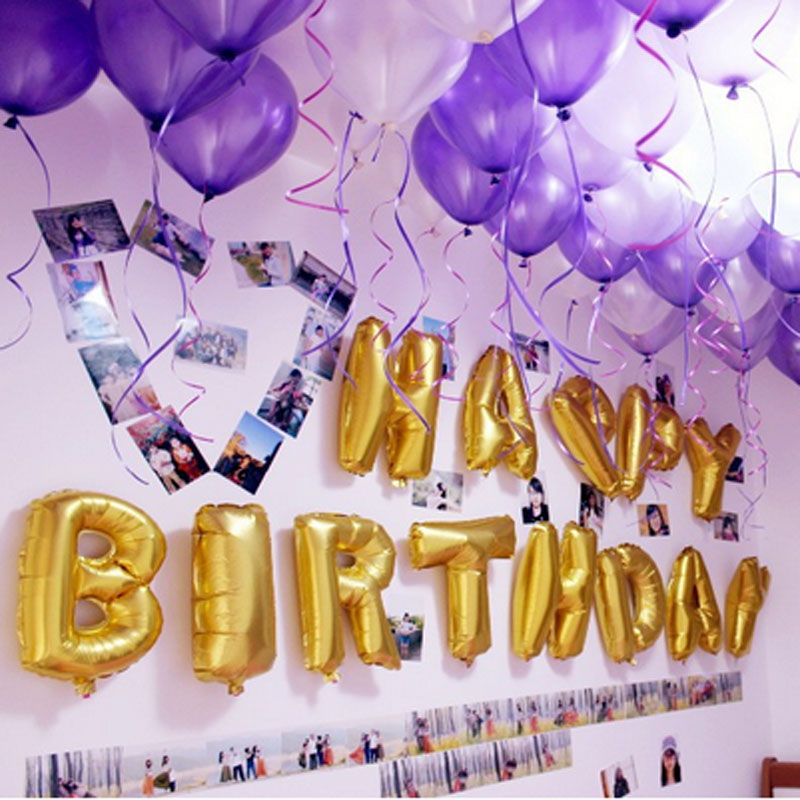13 Letters Silver Gold Multi Wholesales Price Aluminum Foil Membrane Happy Birthday Alphabet Party Balloons Decoration In DIY Decorations From