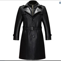 Black Leather Jacket Men Parka Casual PU Clothing Men's Long Leather Jackets Coats High Quality plus velvet Faux Leather Overcoa