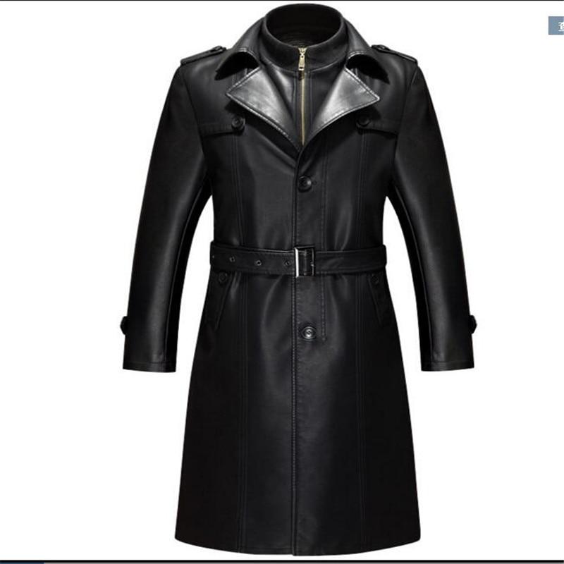 Giacca di Pelle nera Uomini Parka Abbigliamento Casual PU giacca di Pelle Lunga Giacche Cappotti di Alta Qualità più velluto Faux Leather Overcoa