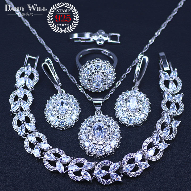 New Arrival silver color Women Accessories Earrings Jewelry Set With White CZ Necklace Earrings Rings Bracelets Sets