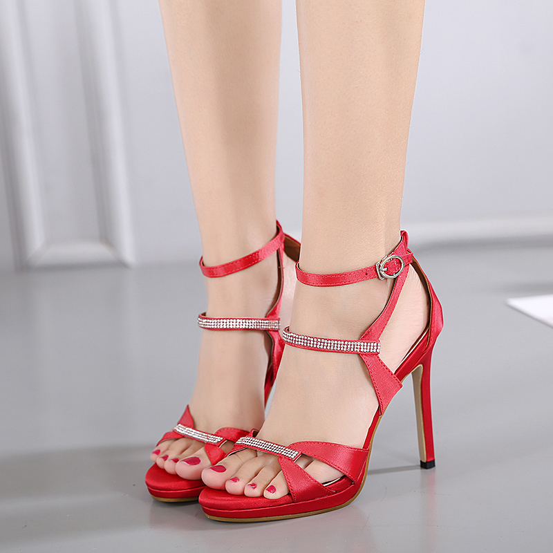 New 2017 Sexy Silk Crystal Sandals Women Pointed Toe Red Shoes Women High Heels Pumps Wedding shoes elegant shoe zapatos mujer 7 colors new sexy women pumps shoes high heels tacon alto bride wedding zapatos mujer pointed toe sweet bowtie women shoes