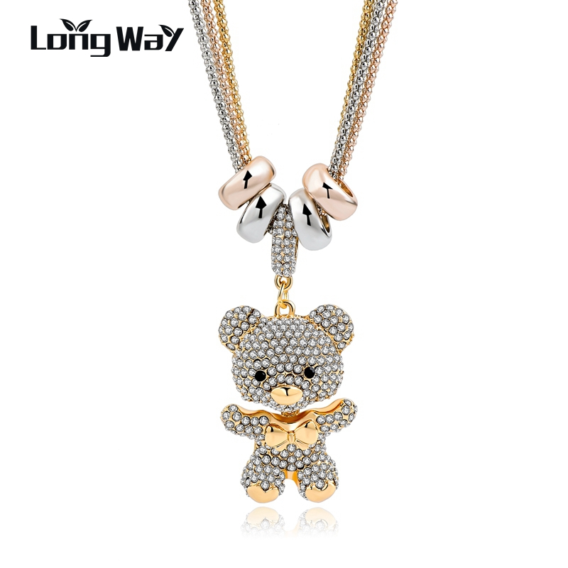 LongWay Gold Long Crystal Lovely Bear Pendant Necklace For Women 2019 New Design Rhinestone Necklace Fashion Jewelry SNE140166