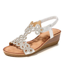D Henlu Gold Sandals Ladies Sandals Wedge Hollow Crystal Rhinestone  Sandals Silver Bohemia Sandalias De 45f92a380e6f
