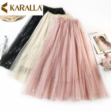 New Women's Gentle Style Skirt Shiny Sequined Mesh High Waist Skirt Ladies Large Hem Pleated Skirt C870(China)