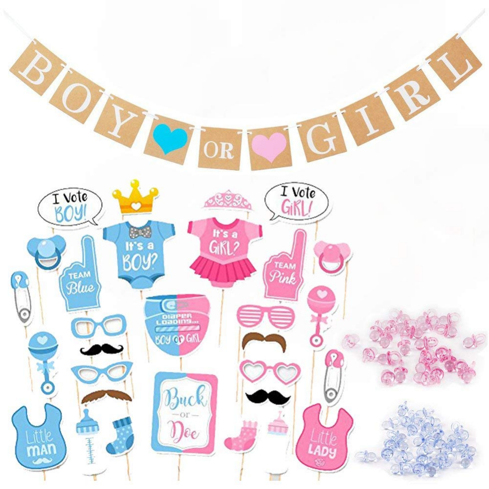Boy or Girl Gender Reveal Decorations - Boy or Girl Banner Photo Booth Props Mini Pacifier for Pregnancy Announc