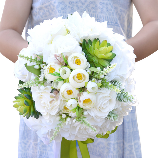 Aesthetically Versatile Bridal Bouquet Combined Silk Spray Roses Peony Flower Succulents With Ranunculus Wedding Bouquet  A0008