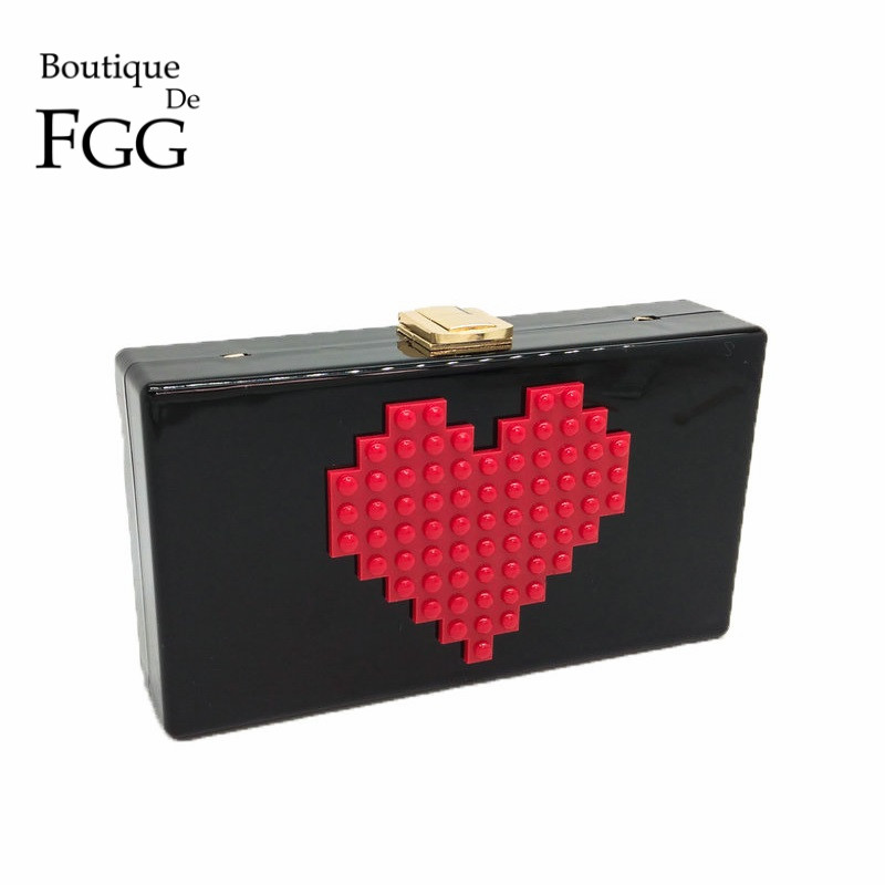 Red Heart Pattern Women Black Acrylic Evening Bag Box Clutch Wedding Party Casual Chain Shoulder Crossbody Handbag and Purse solid white acrylic women evening purse bridal striped handbags wedding party prom clutch bag long chain shoulder crossbody bag