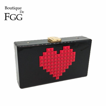 Red Heart Pattern Women Black Acrylic Evening Bag Box Clutch Wedding Party Casual Chain Shoulder Crossbody Handbag and Purse box clutch purse