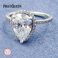 FirstQueen 925 Sterling Silver Radiant Teardrop Ring Clear CZ Vintage Ring Plata 925 Rings For Women