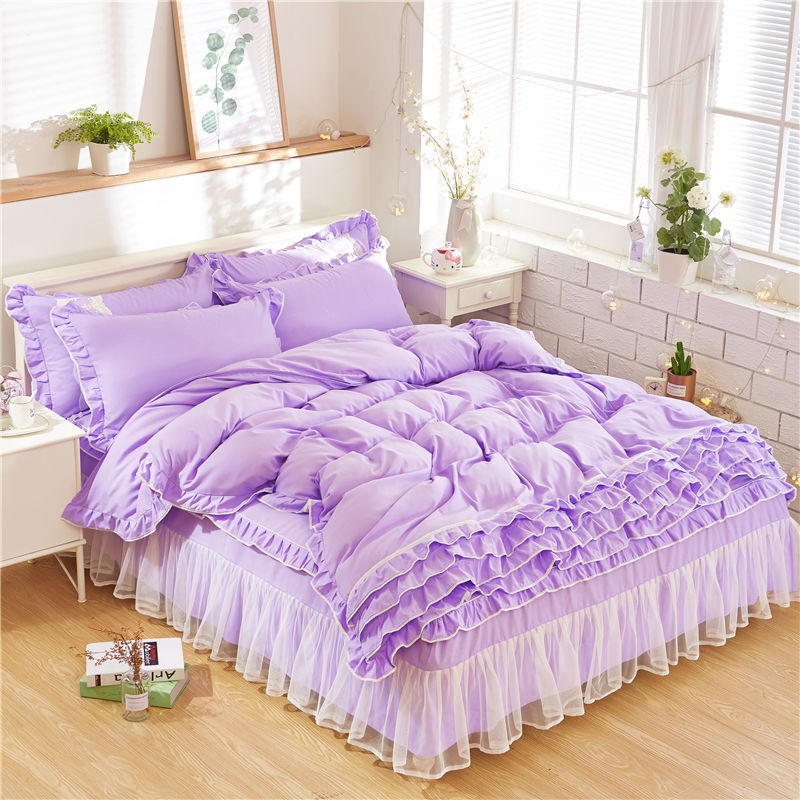pink purple lace bedding set twin full queen king girls children double single bed skirt princess duvet cover sets bedclothes