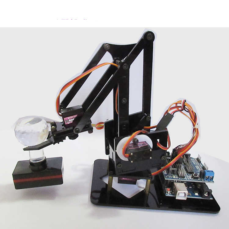 Acrylic Robot Arm For Arduino UNO R3 Shield DIY Mechanical Claw With  Bluetooth Robotic ABB MiniArmUarm RC Toy with MG90s servo
