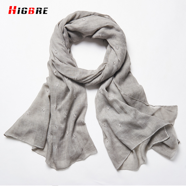 New 2017 Spring Autumn Woman White Blue Cotton Linen Scarves Ladies Wraps Scarf Shawl 190*85cm Scarves Women High Fashion Winter