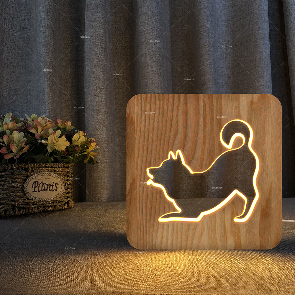 2018 Dog Night Light Kids Toy 3D Touch Table Lamp 7 Colors Flashing LED Wood Night Lamp